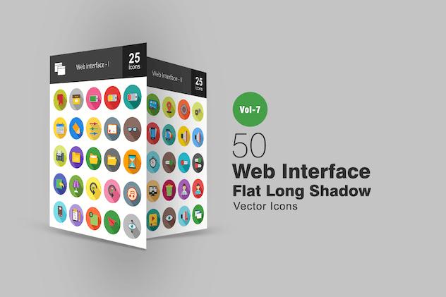 50 Web Interface Flat Shadowed Icons
