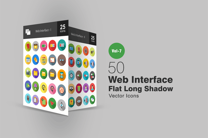 Thumbnail for 50 Web Interface Flat Shadowed Icons