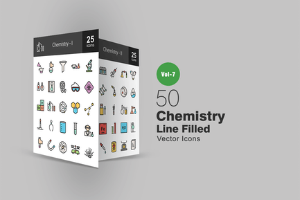 50 Chemistry Filled Line Icons