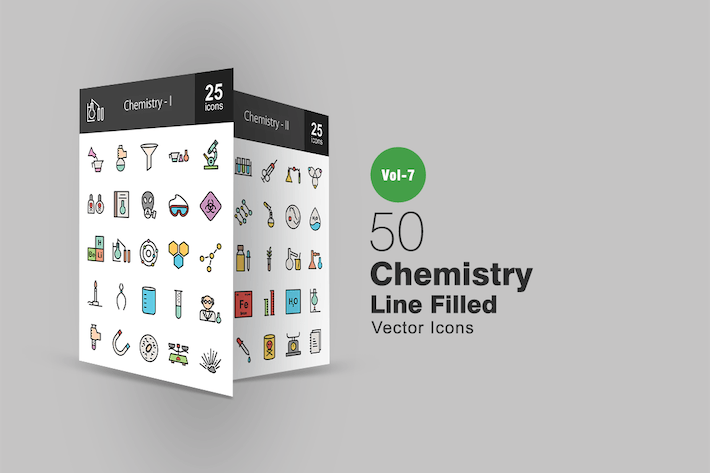 Thumbnail for 50 Chemistry Filled Line Icons
