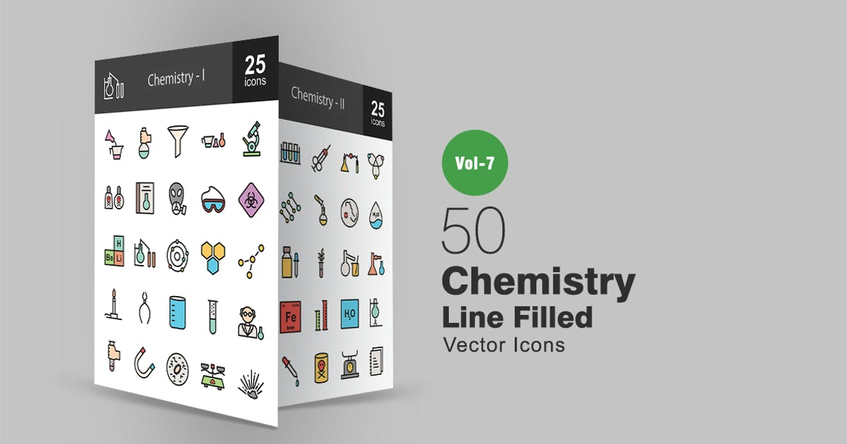 Download 50 Chemistry Filled Line Icons by Unknow