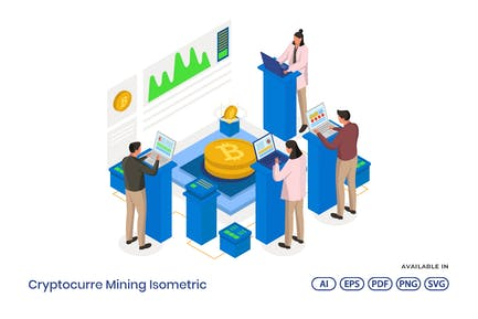 Cryptocurrency Mining Isometric