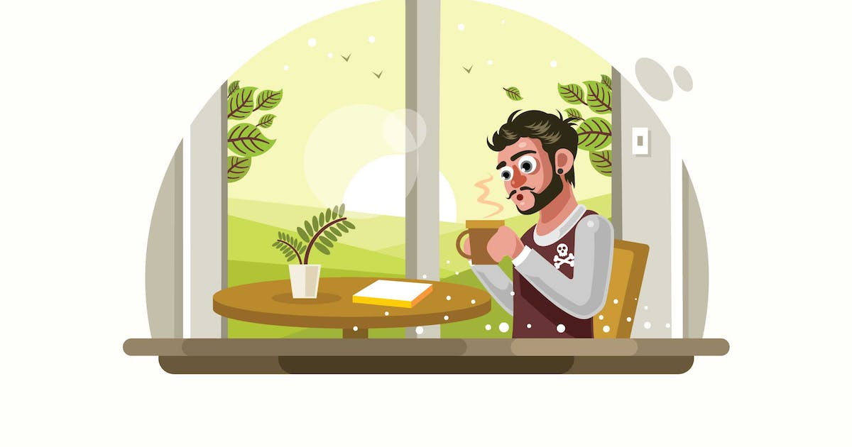 Download Man Drinking Coffee at Cafe Vector Illustration by IanMikraz