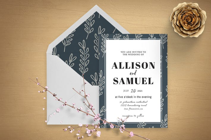 Botanical Wedding Invitation Template