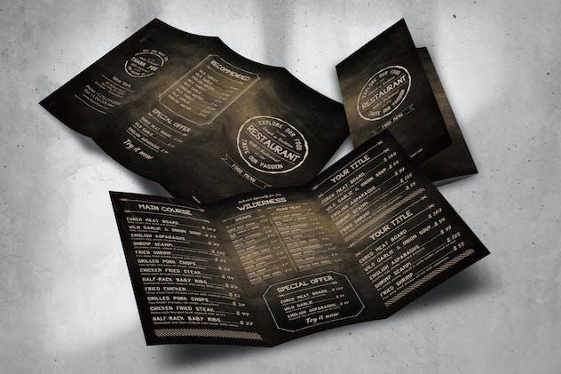 Trifold Food Menu Design A4