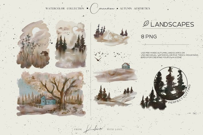 Thumbnail for Autumn landscapes - watercolor set