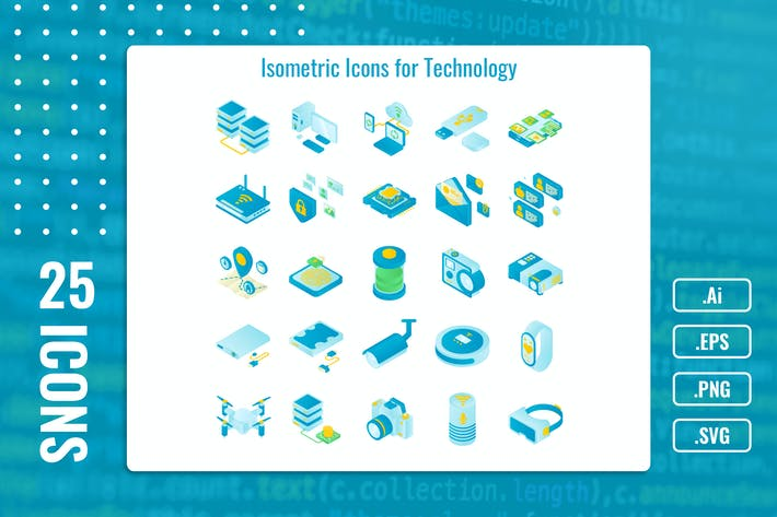 Thumbnail for 25 Iconset Isometric Technology