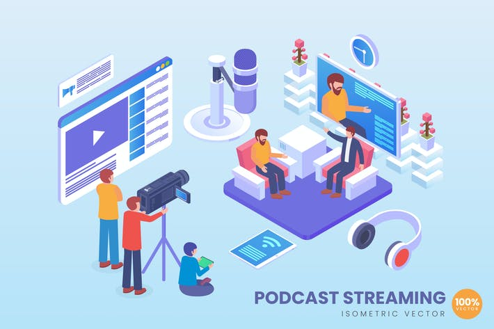 Thumbnail for Isometric Podcast Streaming Vector Concept