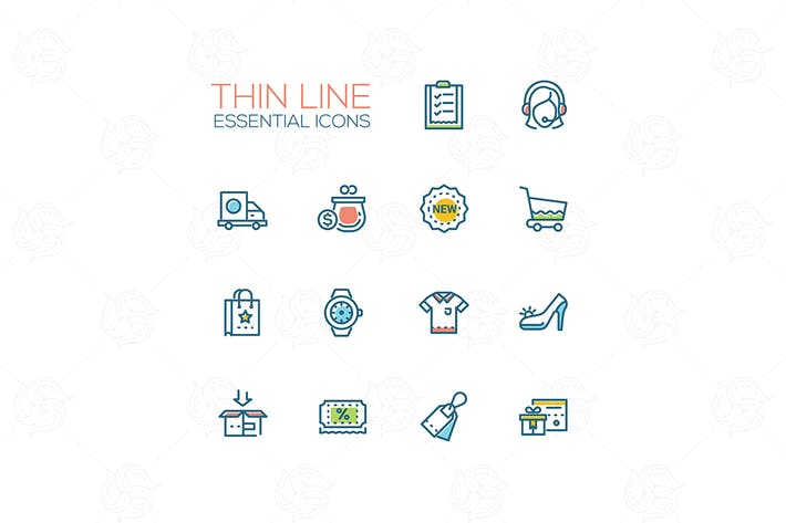Cover Image For Online store - modern vector single line icons