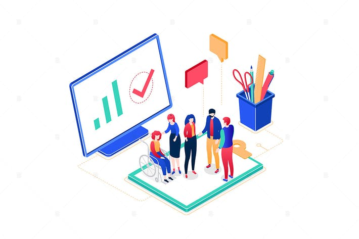Thumbnail for Business meeting - colorful isometric illustration