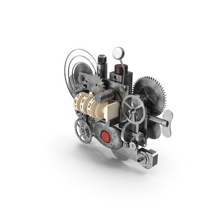 Engranaje de relojería con mecanismo de contador plateado