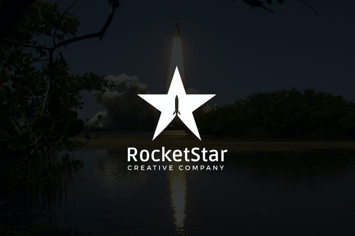 Thumbnail for RocketStar : Negative Space Rocket Logo
