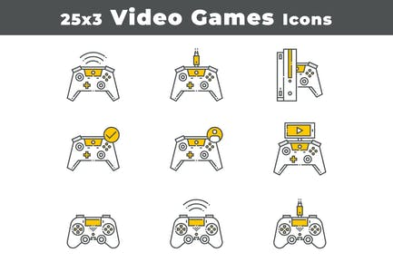 25 Video Games Devices Icons