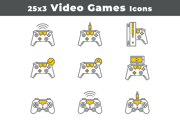 Cover Image For 25 Video Games Devices Icons
