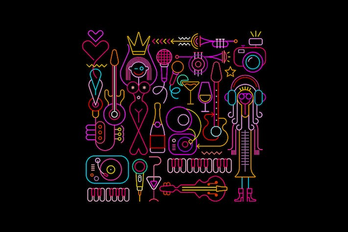 Thumbnail for Beauty Pageant neon colors vector illustration