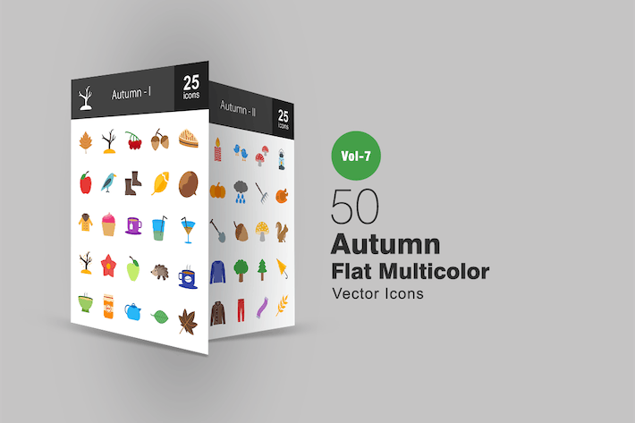 Cover Image For 50 Autumn Flat Multicolor Icons