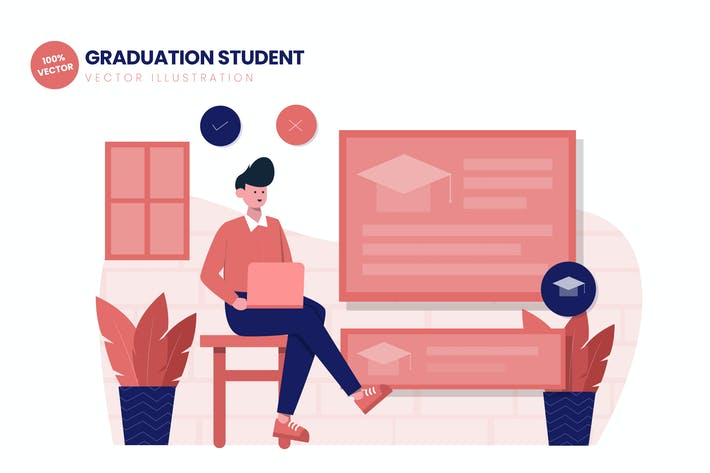 Thumbnail for Graduation Student Flat Vector Illustration