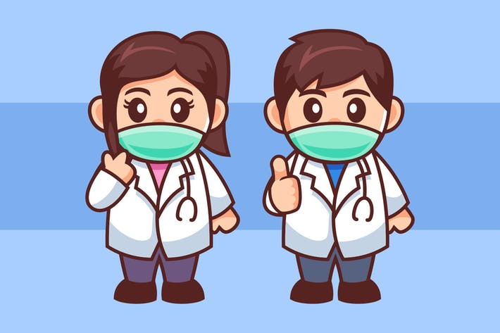 Young Couple Doctor Wear Medical Mask Cartoon