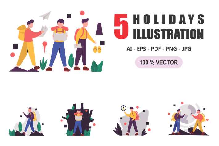 Thumbnail for Holidays - Flat Design Illustrations
