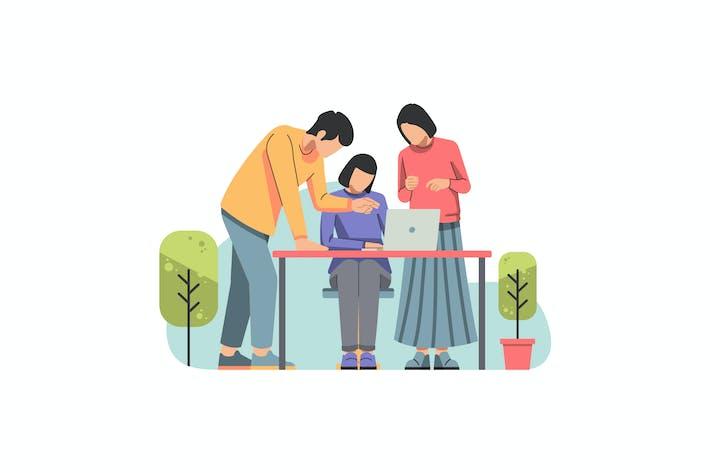 Thumbnail for Ilustración de trabajo en equipo y Startup
