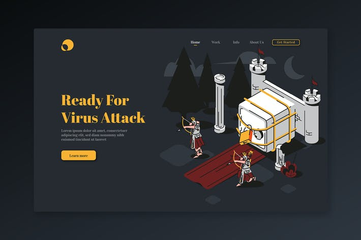 Thumbnail for Ready For Virus Attack - Isometric Landing Page