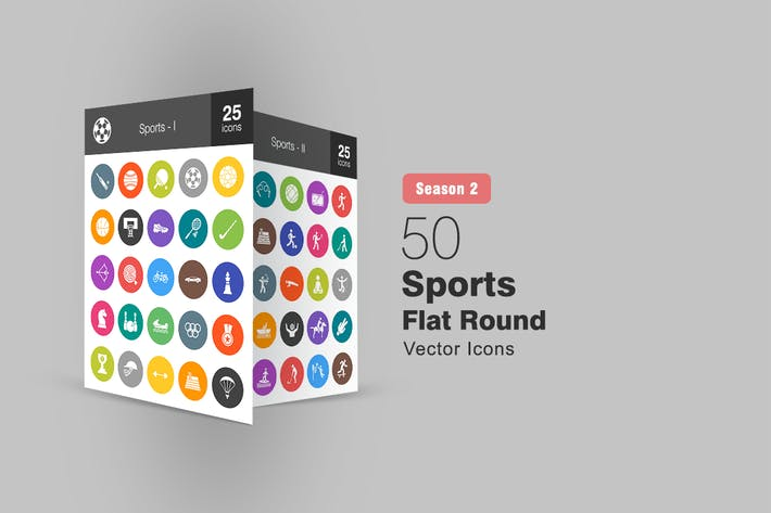 Thumbnail for 50 Sports Flat Round Icons Season II