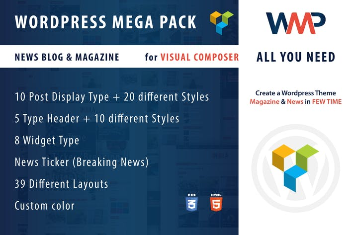 Thumbnail for Wordpress Mega Pack for Visual composer, News-Blog