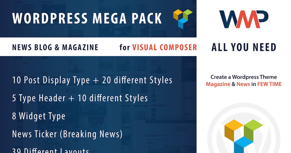 Download Wordpress Mega Pack for Visual composer, News-Blog by ad-theme