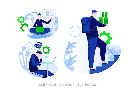 Daily Routine Vector Character Set