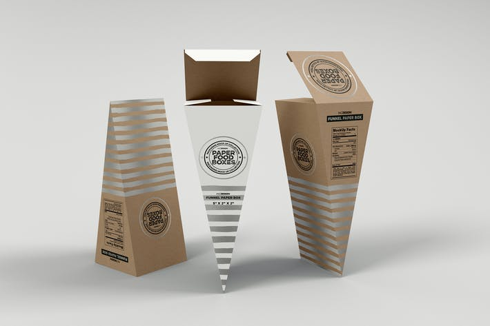 Thumbnail for Funnel Paper Box Packaging Mockup