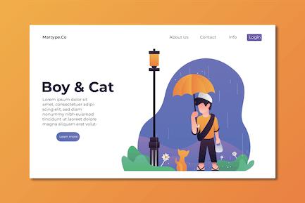 Boy & Cat Illustration Template