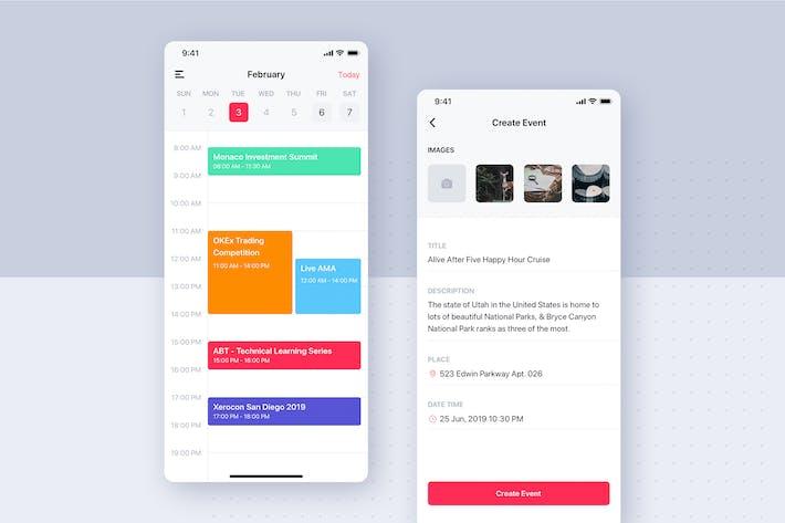 Thumbnail for Event Calendar mobile UI template