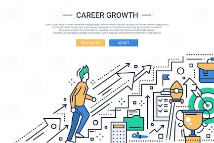 Banner del Página web de Diseño plano de la línea de crecimiento profesional