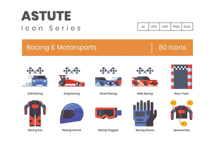 Thumbnail for 80 Racing & Motorsports Flat Icons