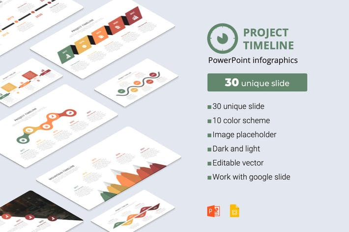 Thumbnail for project timeline powerpoint infographics