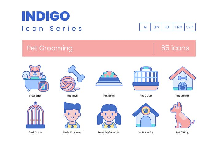 Thumbnail for 65 Pet Grooming Icons | Indigo Series