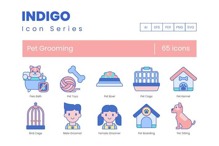 65 Pet Grooming Icons | Indigo Series