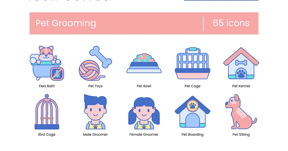 65 Pet Grooming Icons | Indigo Series by Krafted on Envato Elements
