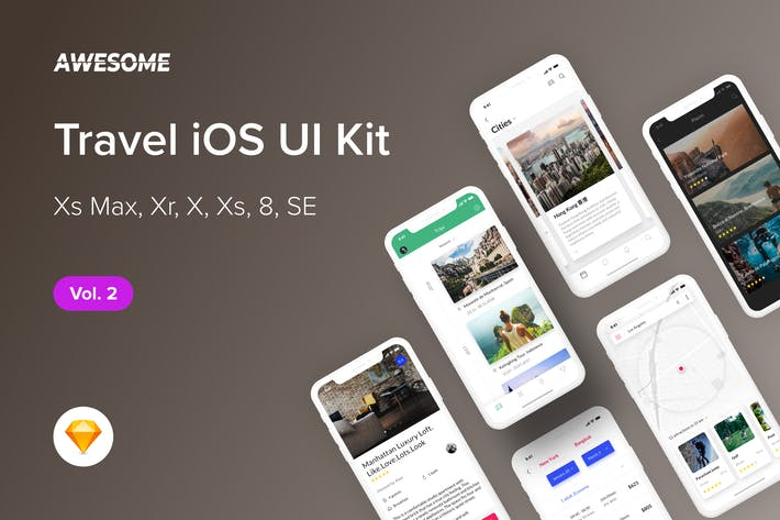 Thumbnail for Awesome iOS UI Kit - Travel Vol. 2 (Sketch)