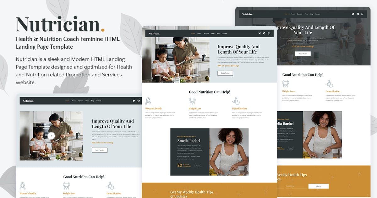 Download Nutrician - Health & Nutrition Coach Landing Page by tansh