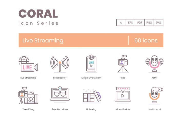 Thumbnail for 60 Live Streaming & Podcasting Icons