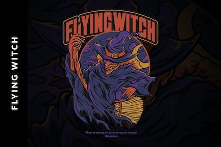 Fliegende Hexe Hallowe
