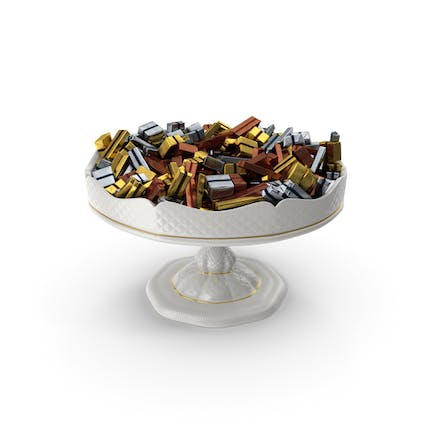 Fancy Porcelain Bowl With Fancy Wrapped Chocolate Candy