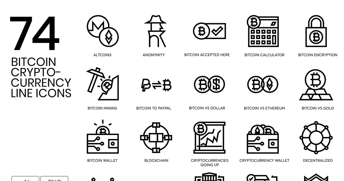 Download Bitcoin, Blockchain, Cryptocurrency Line Icons by Krafted