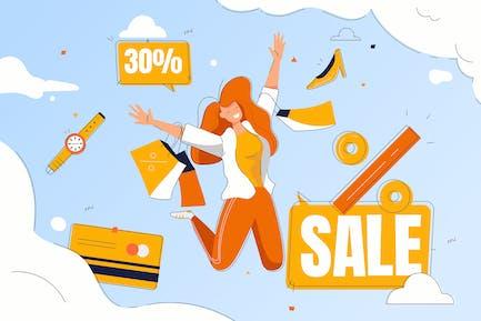 Happy woman enjoy discounts