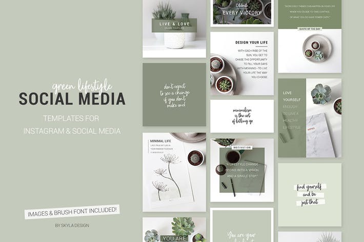 Thumbnail for Green lifestyle social media templates for Instagr