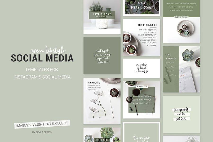 Green lifestyle social media templates for Instagr