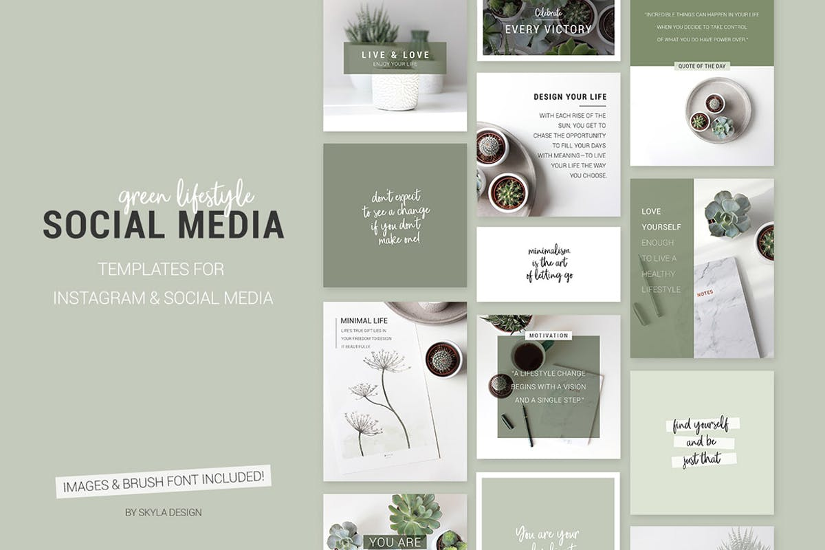 Download Green lifestyle social media templates for Instagr by skyladesign by Unknow