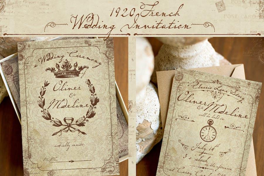 1920 French Wedding Invitation