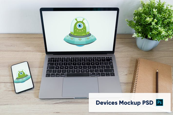 Thumbnail for Phone and Laptop on wooden desk - workplace mockup